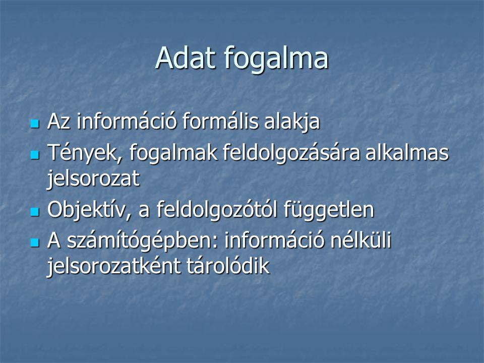 Adat fogalma Az információ formális alakja