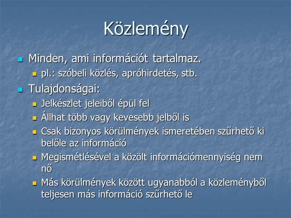 Közlemény Minden, ami információt tartalmaz. Tulajdonságai: