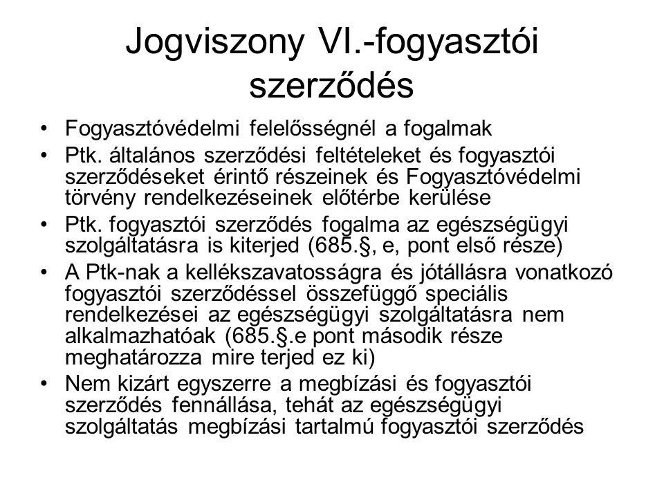 Jogviszony VI.-fogyasztói szerződés