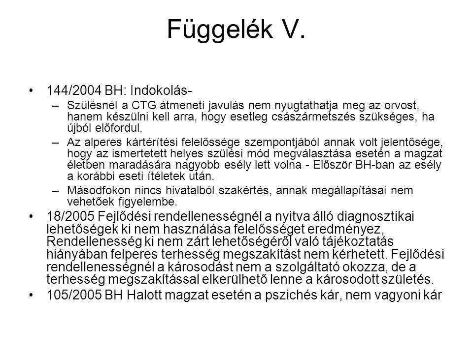 Függelék V. 144/2004 BH: Indokolás-
