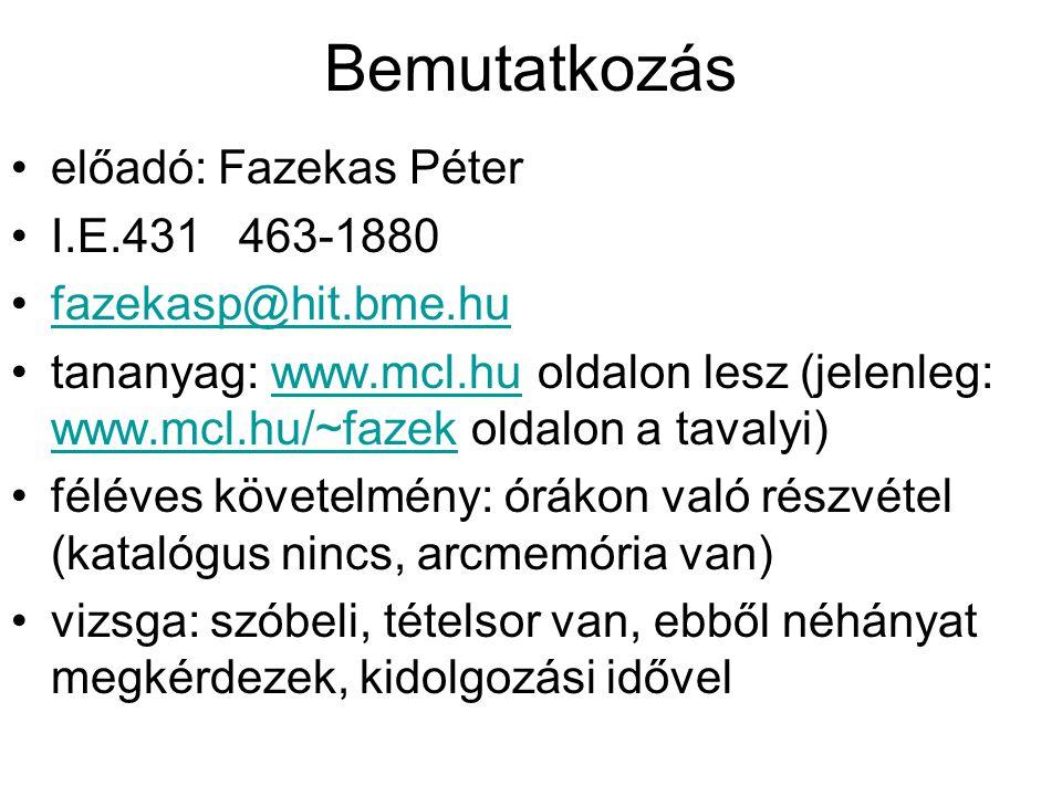 Bemutatkozás előadó: Fazekas Péter I.E.431 463-1880