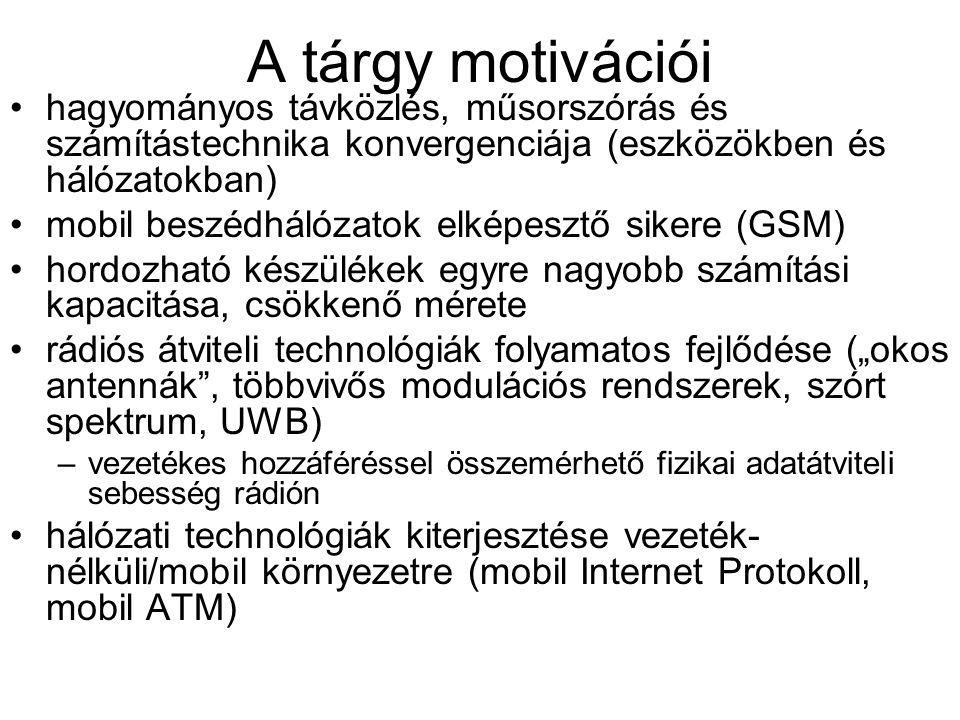 A tárgy motivációi hagyományos távközlés, műsorszórás és számítástechnika konvergenciája (eszközökben és hálózatokban)