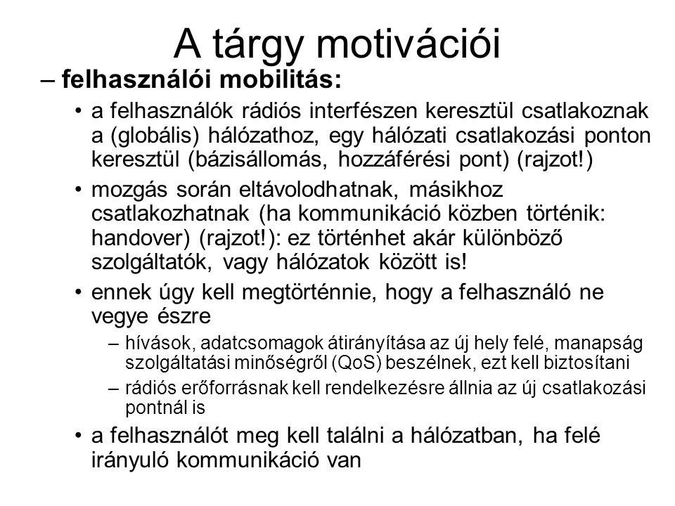 A tárgy motivációi felhasználói mobilitás: