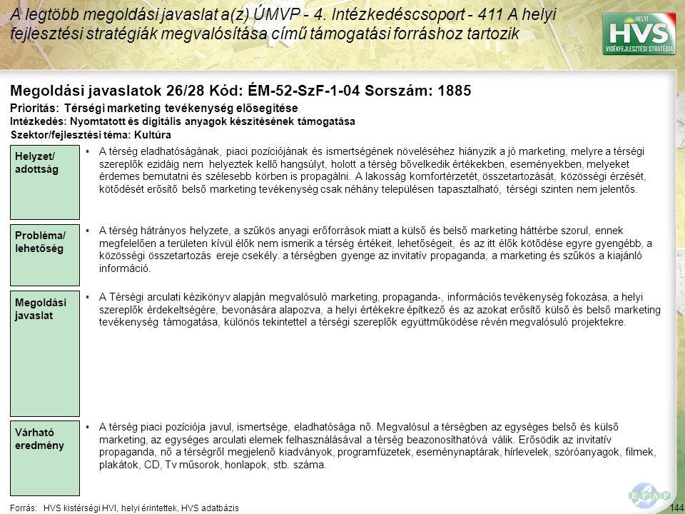 Megoldási javaslatok 26/28 Kód: ÉM-52-SzF-1-04 Sorszám: 1885