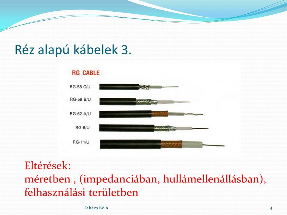 Réz alapú kábelek 3. Eltérések: