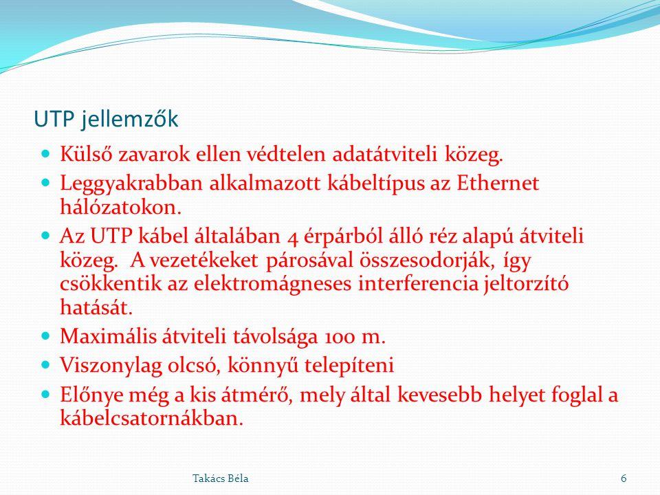 UTP jellemzők Külső zavarok ellen védtelen adatátviteli közeg.