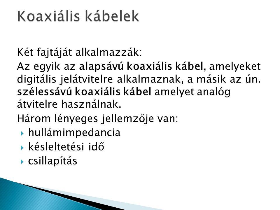 Koaxiális kábelek Két fajtáját alkalmazzák: