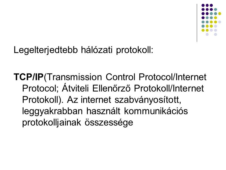 Legelterjedtebb hálózati protokoll: