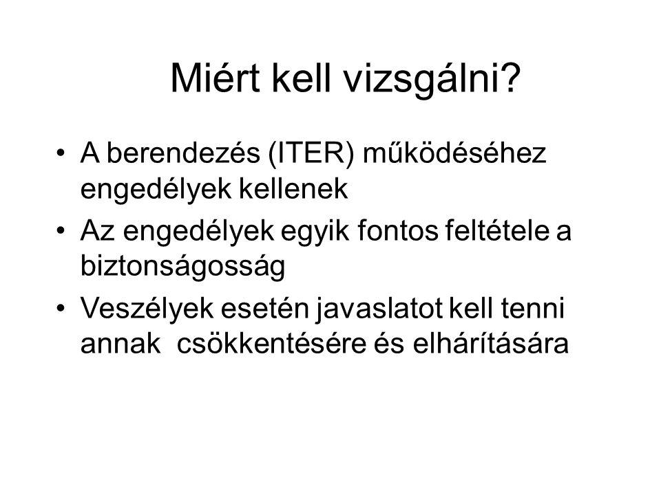 Miért kell vizsgálni A berendezés (ITER) működéséhez engedélyek kellenek. Az engedélyek egyik fontos feltétele a biztonságosság.
