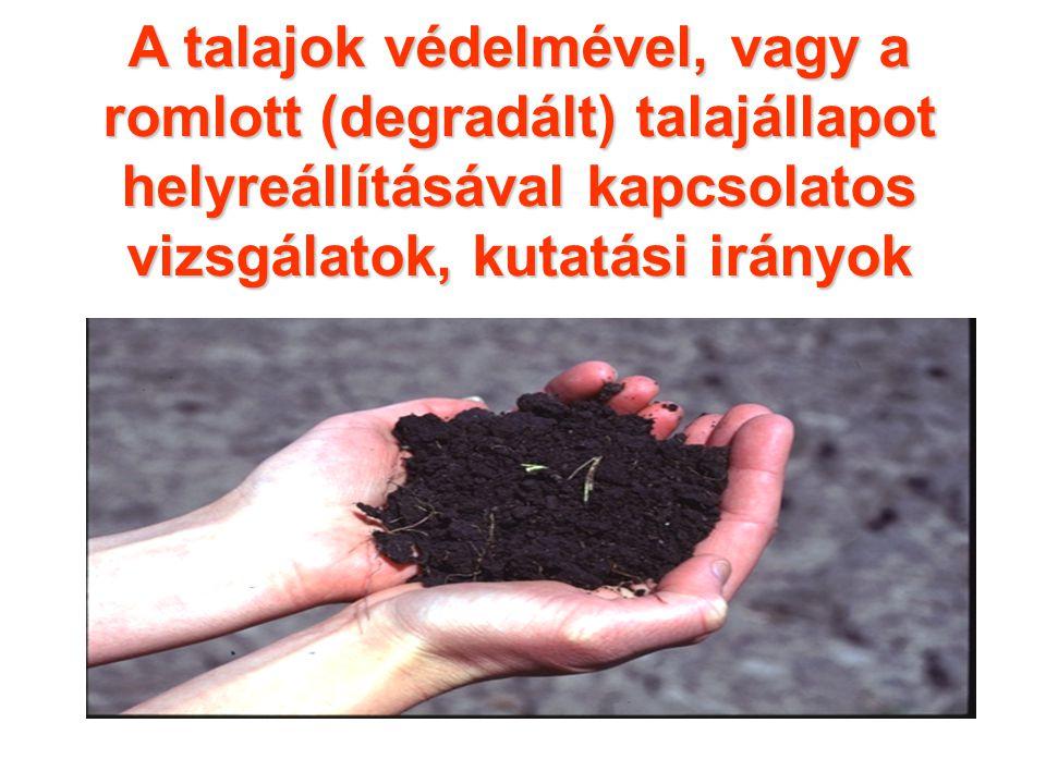 A talajok védelmével, vagy a romlott (degradált) talajállapot helyreállításával kapcsolatos vizsgálatok, kutatási irányok