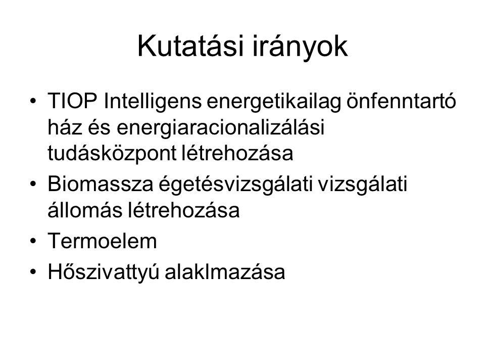 Kutatási irányok TIOP Intelligens energetikailag önfenntartó ház és energiaracionalizálási tudásközpont létrehozása.