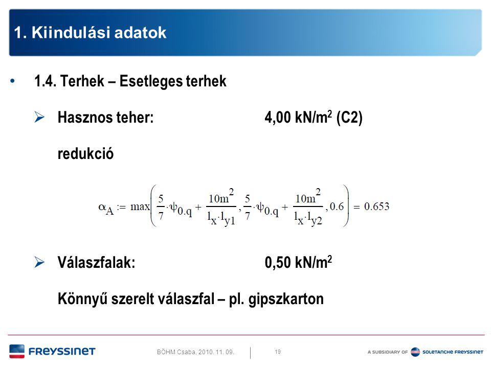 1. Kiindulási adatok 1.4. Terhek – Esetleges terhek. Hasznos teher: 4,00 kN/m2 (C2) redukció. Válaszfalak: 0,50 kN/m2.