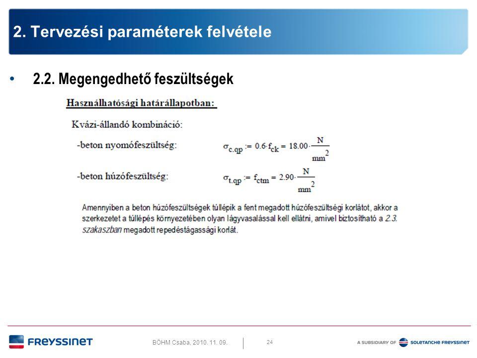 2. Tervezési paraméterek felvétele