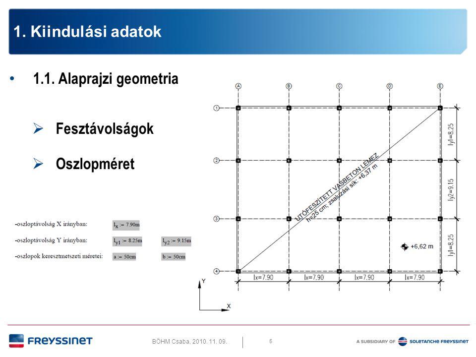 1. Kiindulási adatok 1.1. Alaprajzi geometria Fesztávolságok Oszlopméret