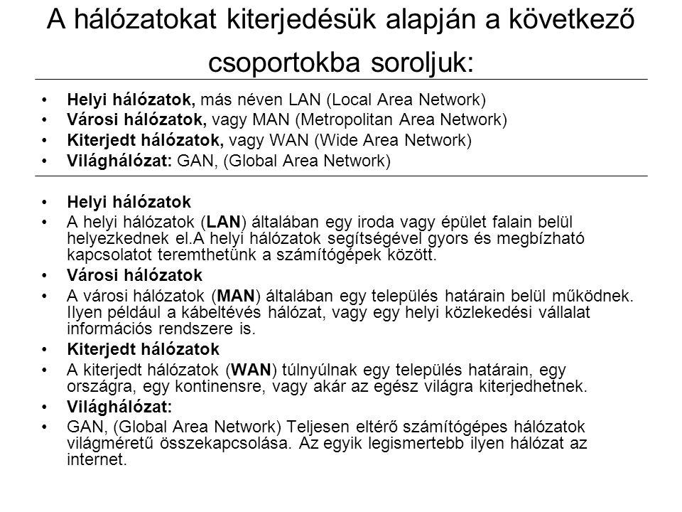 A hálózatokat kiterjedésük alapján a következő csoportokba soroljuk: