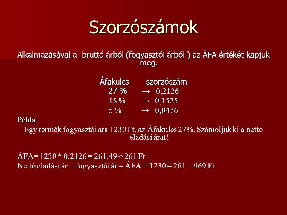 Szorzószámok Alkalmazásával a bruttó árból (fogyasztói árból ) az ÁFA értékét kapjuk meg. Áfakulcs szorzószám.