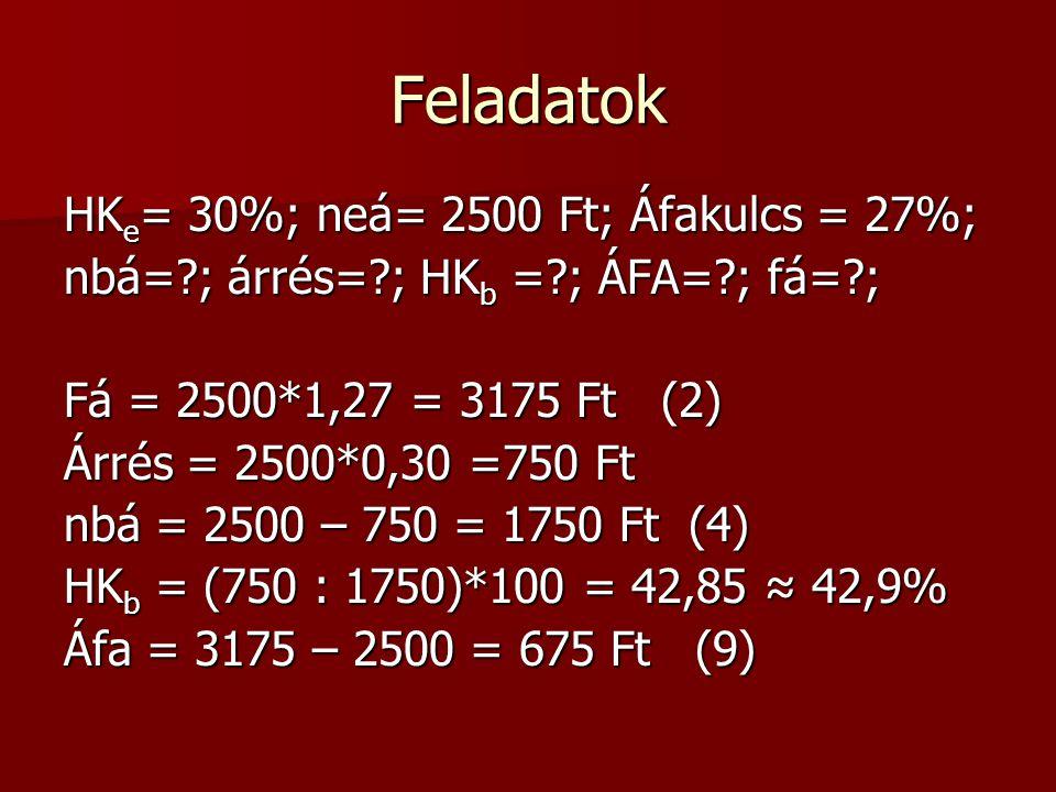 Feladatok HKe= 30%; neá= 2500 Ft; Áfakulcs = 27%;