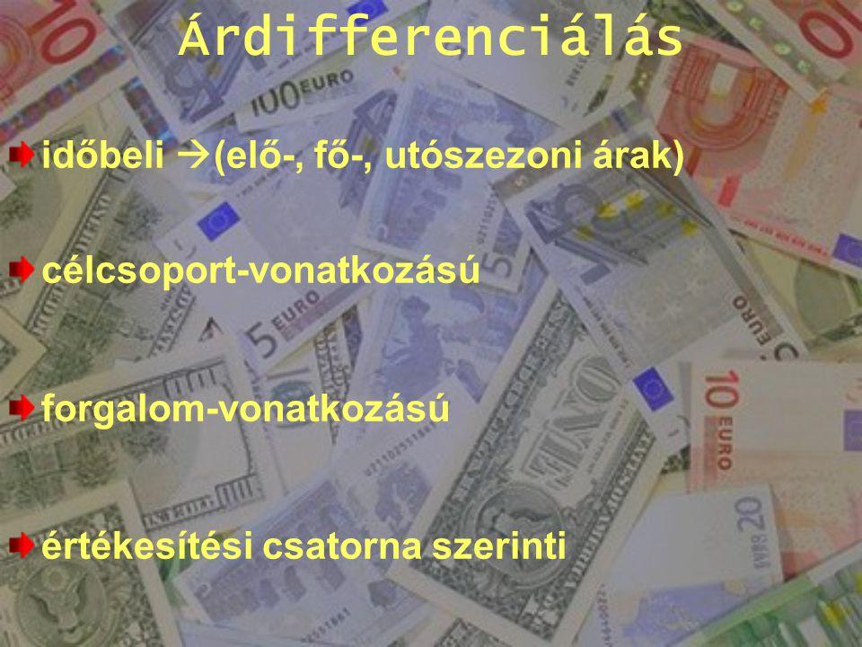 Árdifferenciálás időbeli (elő-, fő-, utószezoni árak)