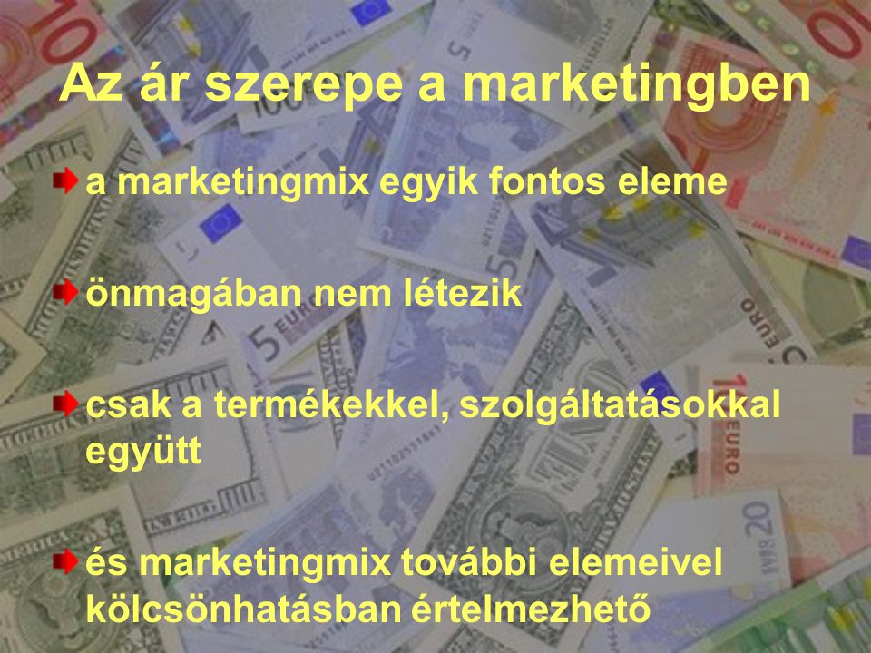 Az ár szerepe a marketingben