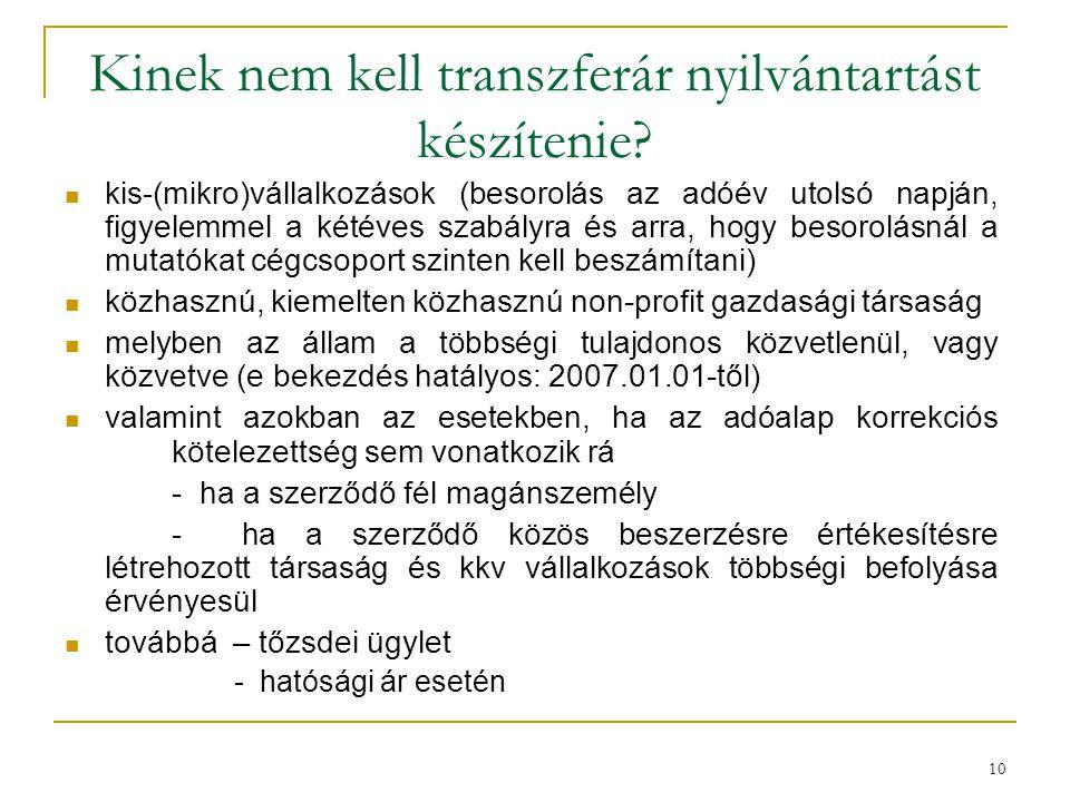 Kinek nem kell transzferár nyilvántartást készítenie