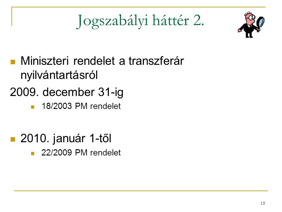 Jogszabályi háttér 2. Miniszteri rendelet a transzferár nyilvántartásról. 2009. december 31-ig. 18/2003 PM rendelet.