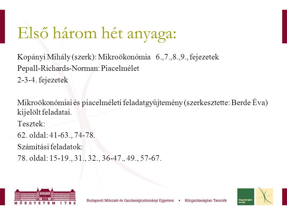 Első három hét anyaga: Kopányi Mihály (szerk): Mikroökonómia 6.,7.,8.,9., fejezetek. Pepall-Richards-Norman: Piacelmélet.