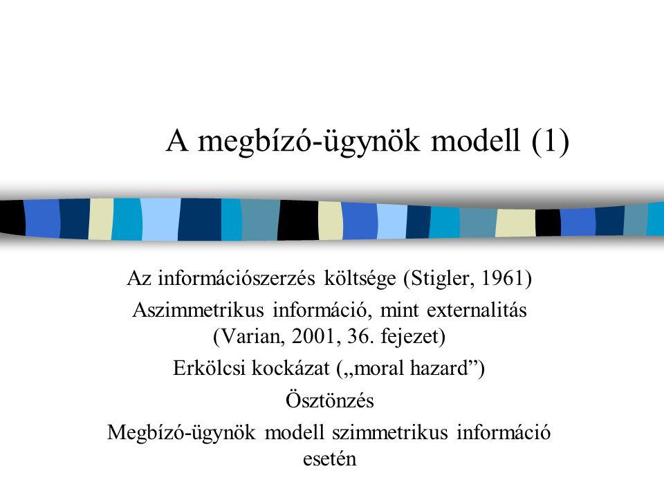 A megbízó-ügynök modell (1)