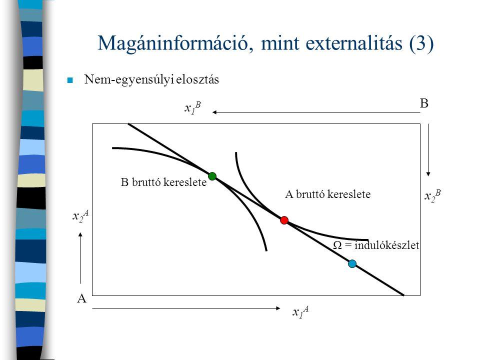 Magáninformáció, mint externalitás (3)