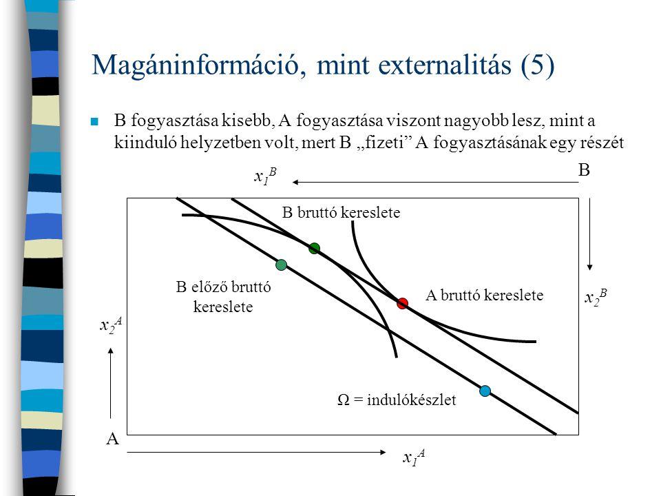 Magáninformáció, mint externalitás (5)