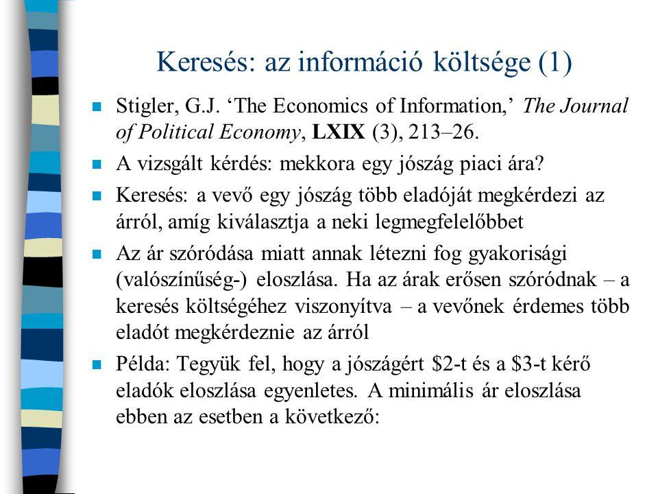 Keresés: az információ költsége (1)
