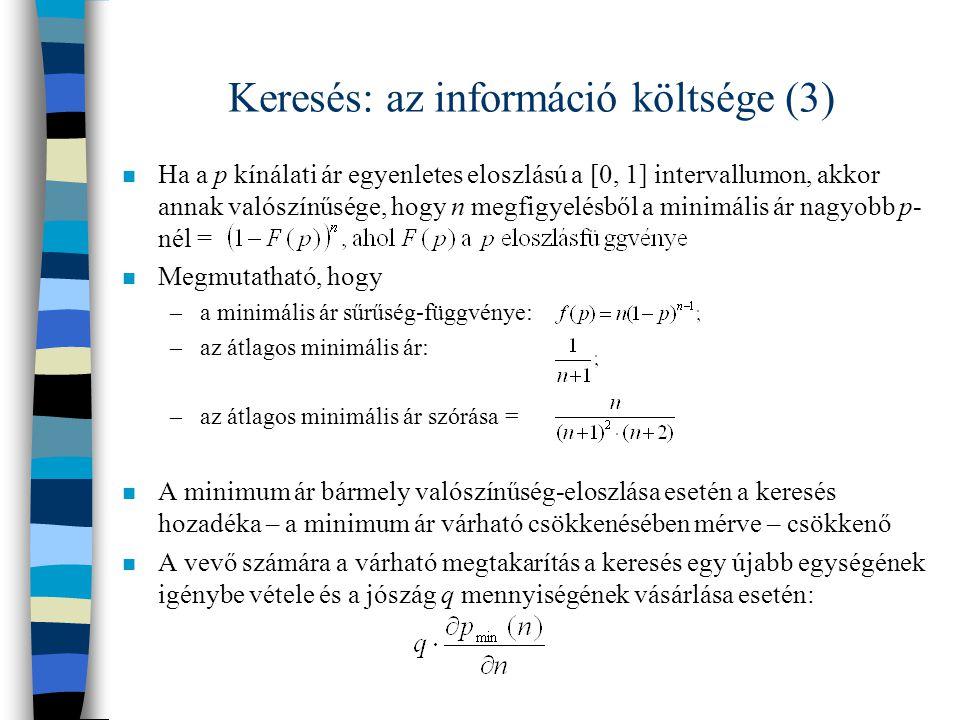 Keresés: az információ költsége (3)