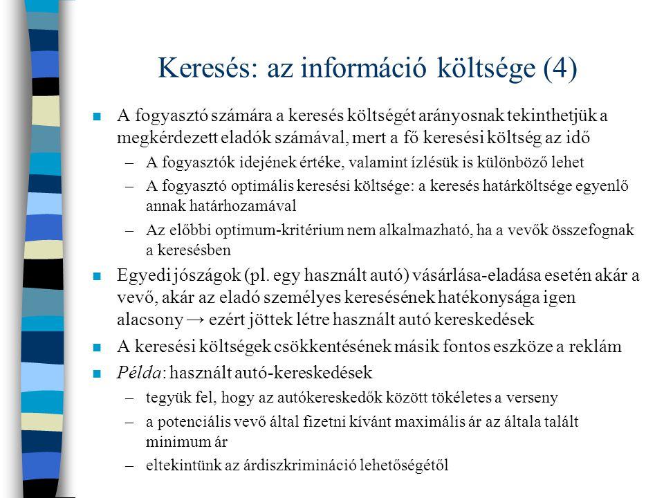 Keresés: az információ költsége (4)