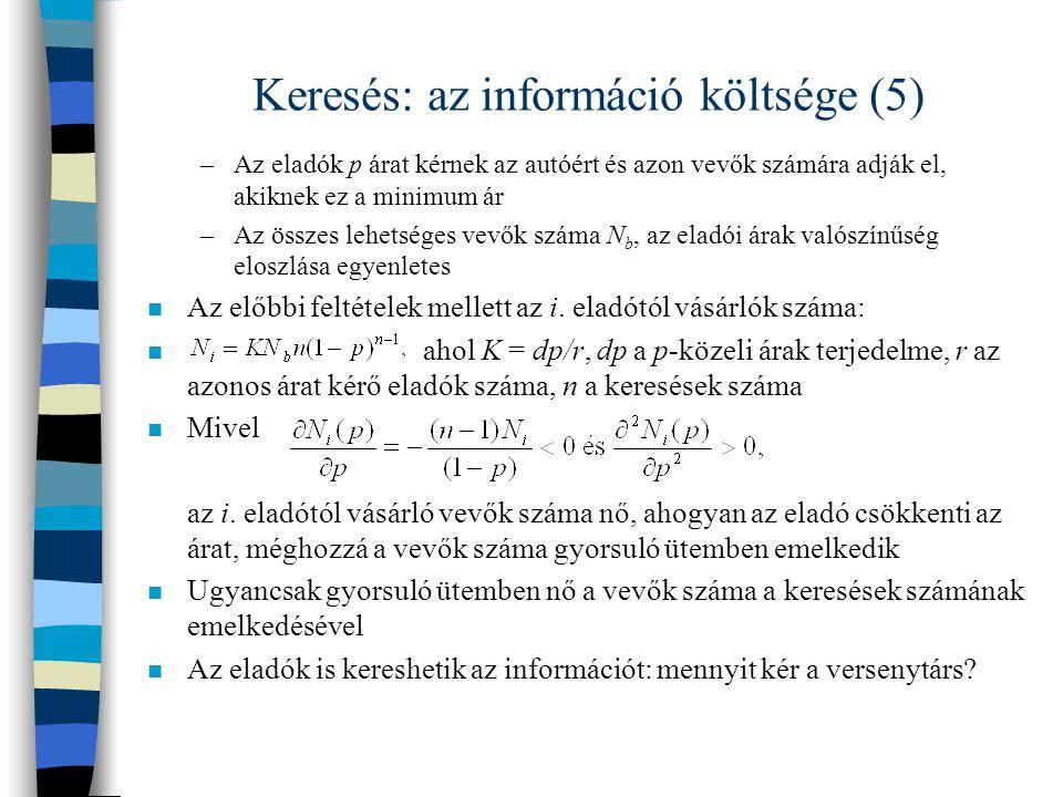 Keresés: az információ költsége (5)