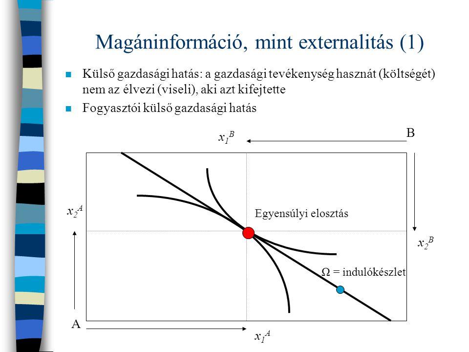 Magáninformáció, mint externalitás (1)