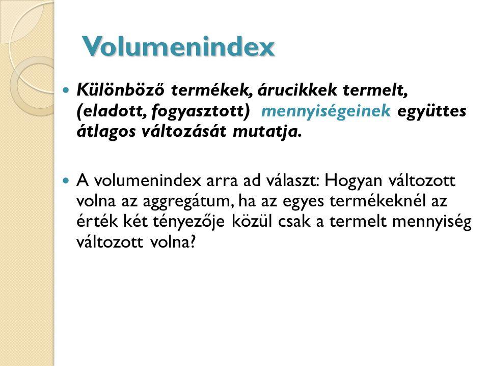 Volumenindex Különböző termékek, árucikkek termelt, (eladott, fogyasztott) mennyiségeinek együttes átlagos változását mutatja.