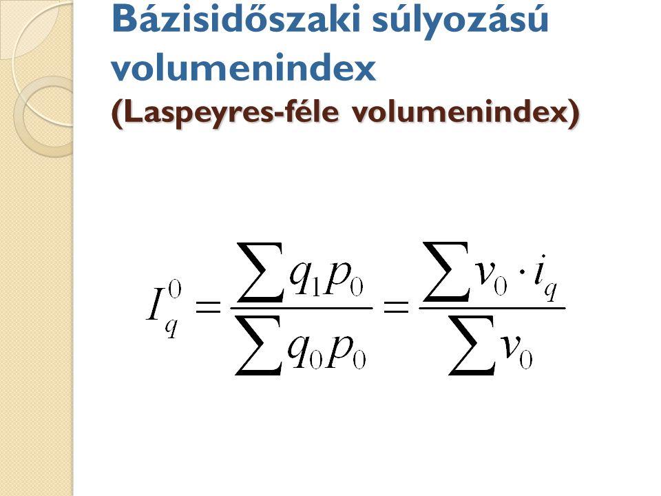 Bázisidőszaki súlyozású volumenindex (Laspeyres-féle volumenindex)
