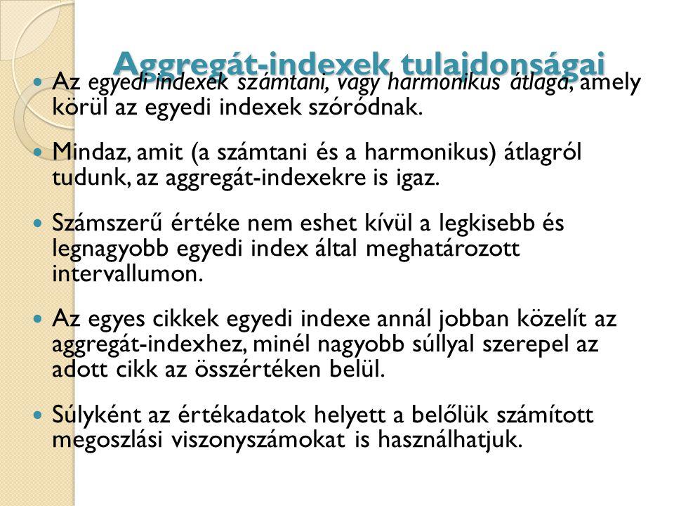 Aggregát-indexek tulajdonságai