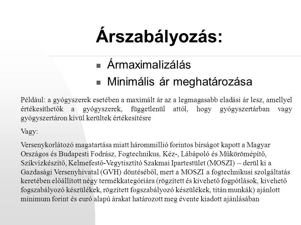 Árszabályozás: Ármaximalizálás Minimális ár meghatározása
