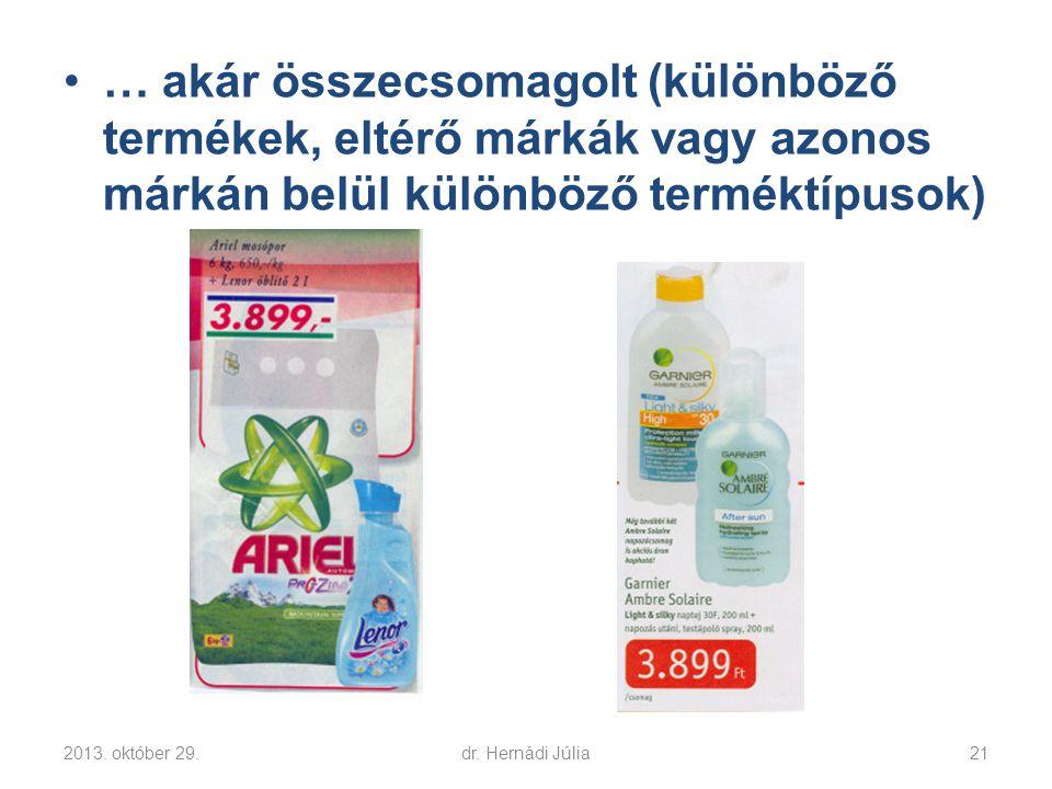 … akár összecsomagolt (különböző termékek, eltérő márkák vagy azonos márkán belül különböző terméktípusok)