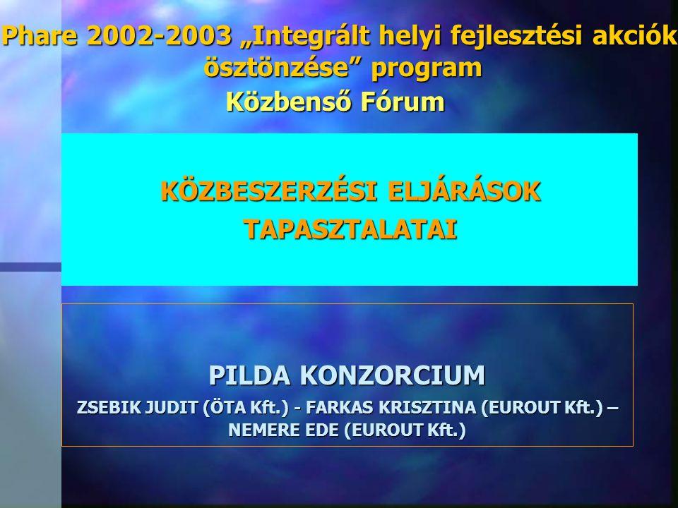 """Phare 2002-2003 """"Integrált helyi fejlesztési akciók"""