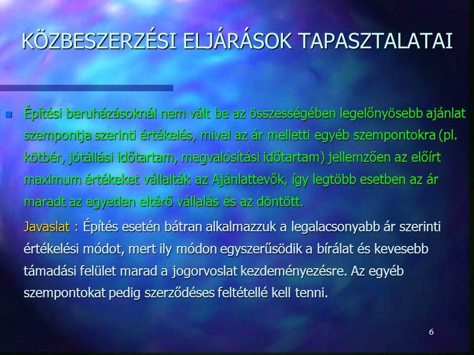 KÖZBESZERZÉSI ELJÁRÁSOK TAPASZTALATAI