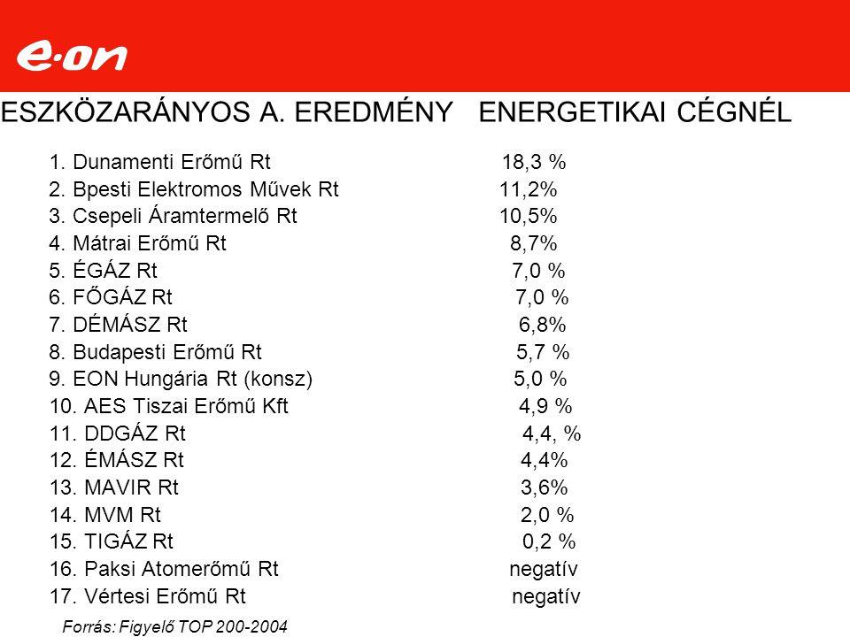 ESZKÖZARÁNYOS A. EREDMÉNY ENERGETIKAI CÉGNÉL
