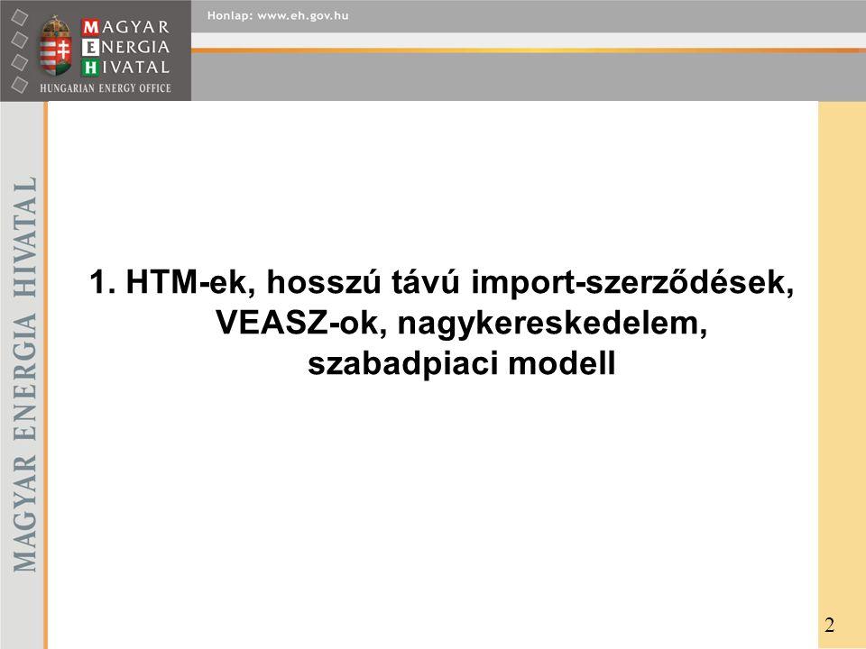 1. HTM-ek, hosszú távú import-szerződések, VEASZ-ok, nagykereskedelem, szabadpiaci modell