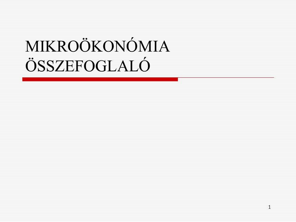 MIKROÖKONÓMIA ÖSSZEFOGLALÓ