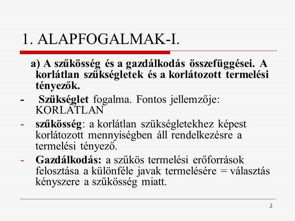 1. ALAPFOGALMAK-I. - Szükséglet fogalma. Fontos jellemzője: KORLÁTLAN