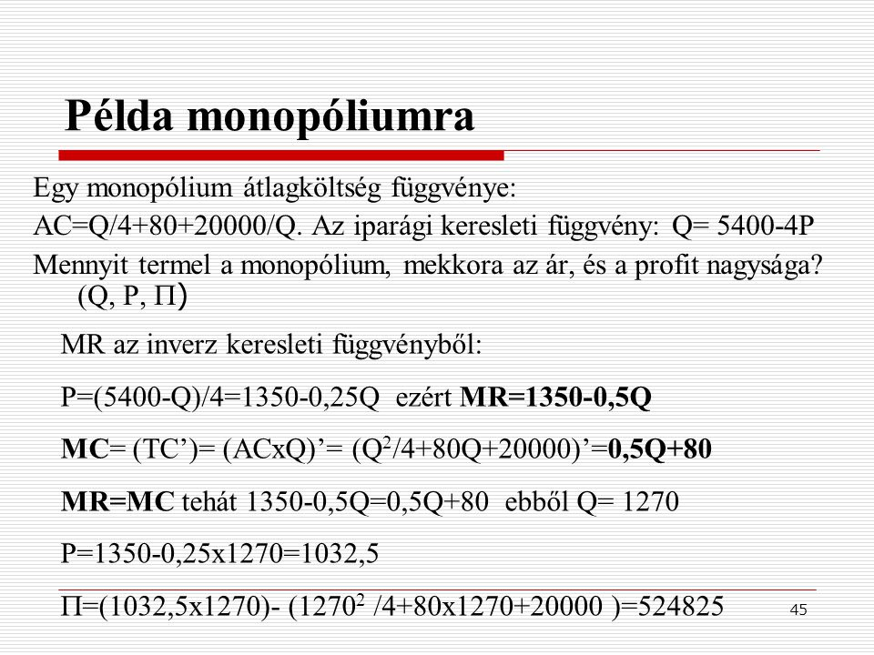 Példa monopóliumra Egy monopólium átlagköltség függvénye: