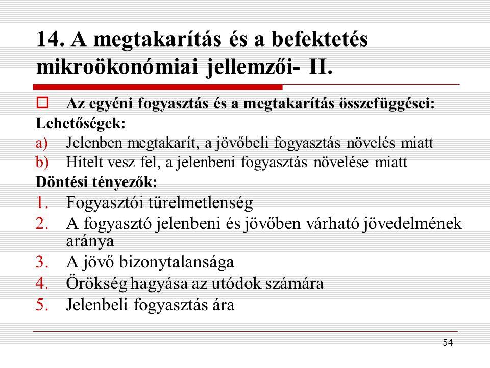 14. A megtakarítás és a befektetés mikroökonómiai jellemzői- II.