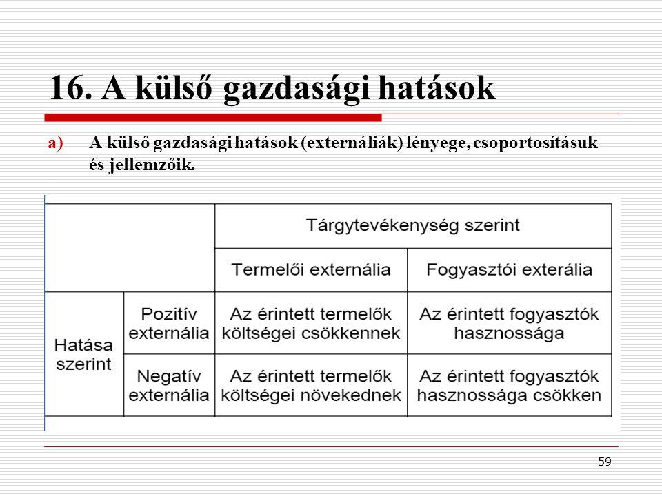 16. A külső gazdasági hatások