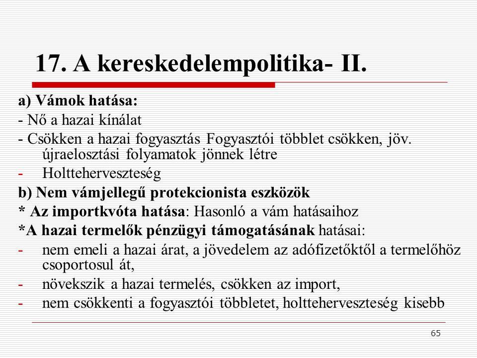 17. A kereskedelempolitika- II.