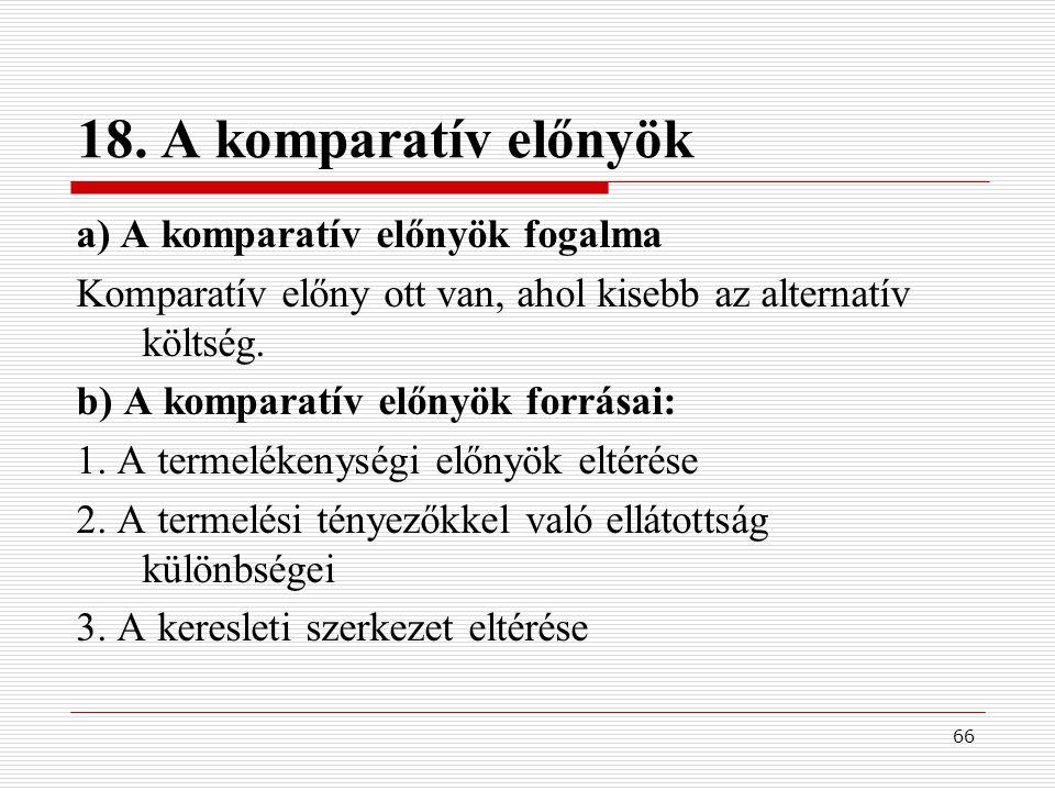 18. A komparatív előnyök a) A komparatív előnyök fogalma